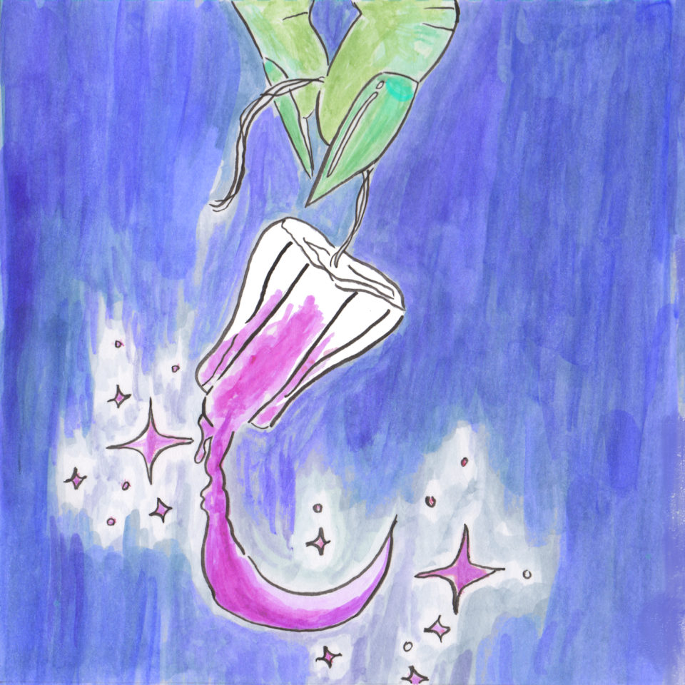 Pink tampon emitting sparkles, held by green hand on lavender background