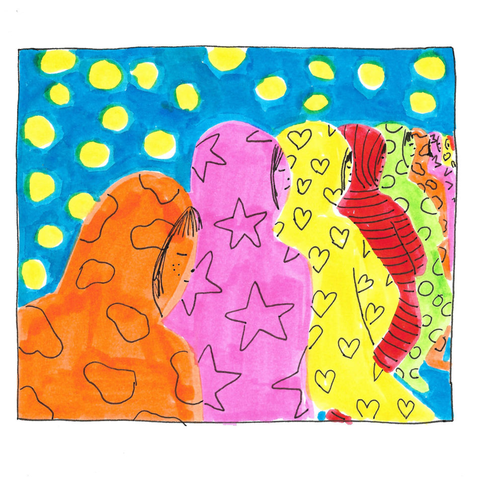 Backs of people standing in line wearing cloud, star, and a heart-printed colorful robes