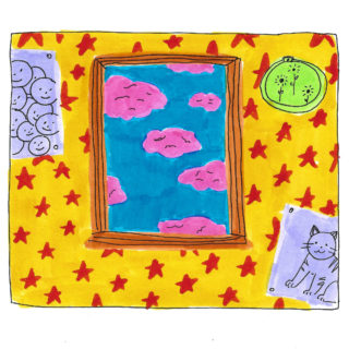 A room with pink star wallpaper, grey posters, and a window looking out to some pink clouds