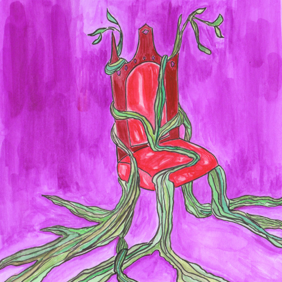 Red chair covered in vines on purple background