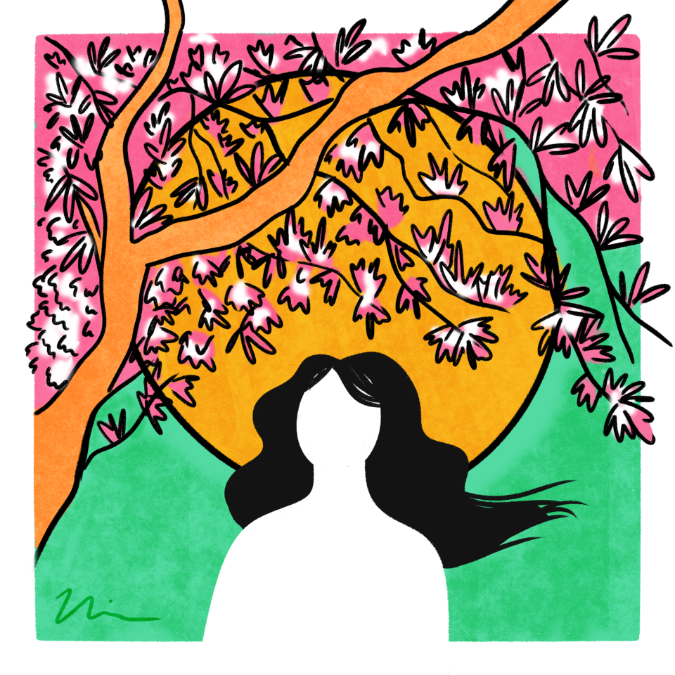 Illustration by Nia Chavez; outline of a person against the sun and cherry blossoms.