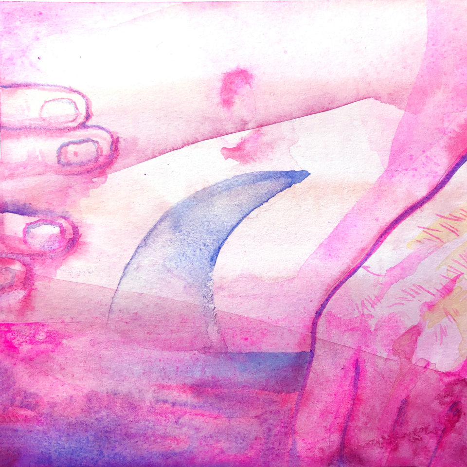 Pink hands against pink and purple shapes in watercolor