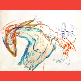 Colorful sketch of male torso, faces