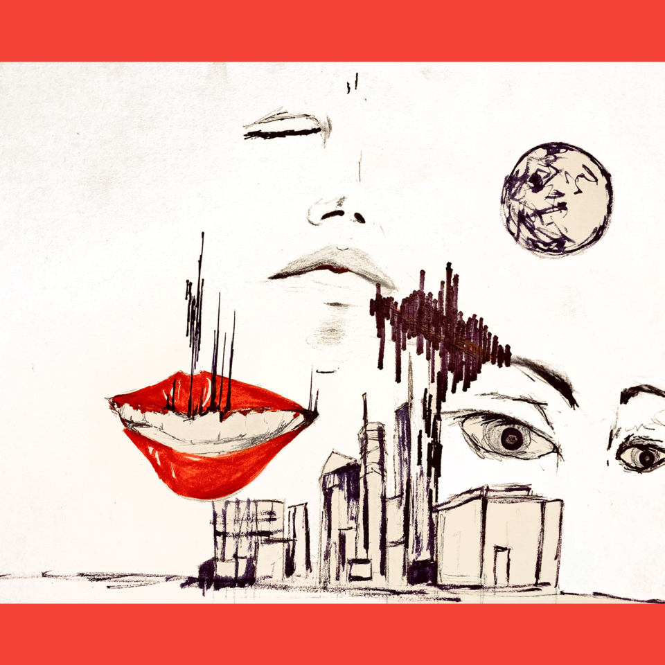 Red lips and sketched faces on a city skyline