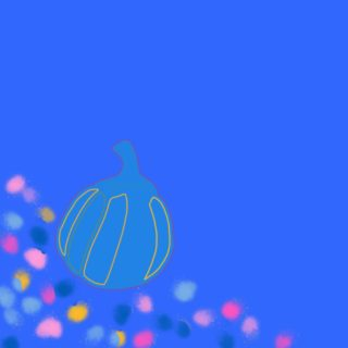 Illustration of gourd on blue background with primary color polka dots