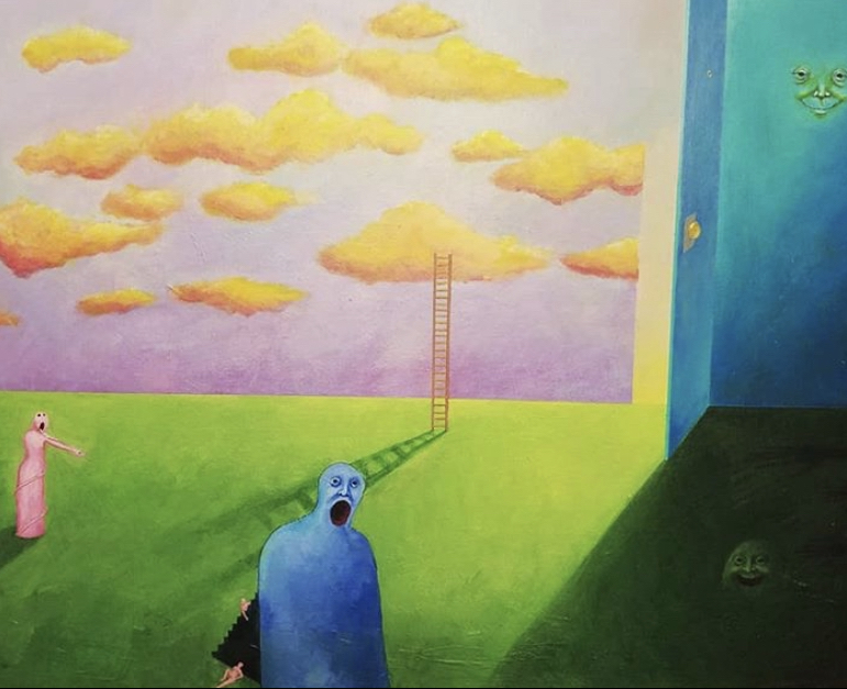 Surrealist painting by Sarah Waddle depicting a blue figure screaming on grass, with yellow clouds in a pink sky