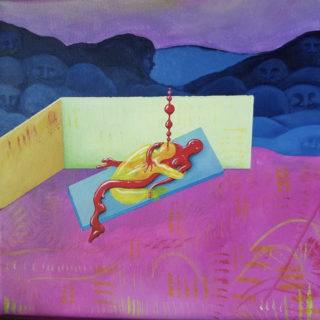 Surrealist painting by Sarah Waddle depicting two entwined figures in a colorful, geometric setting