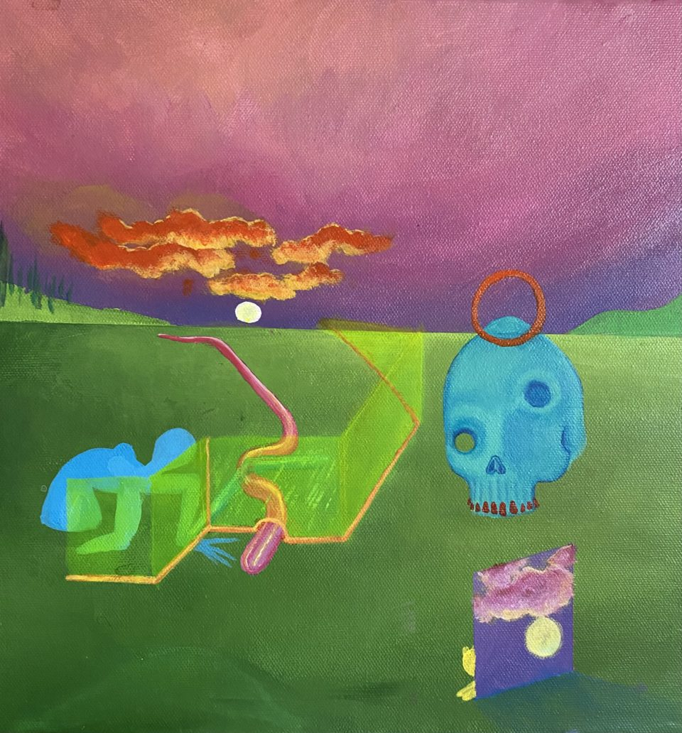 Surrealist painting by Sarah Waddle with several figures including a blue skull and red clouds