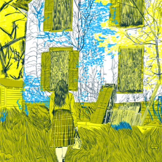 Illustration of back of a woman staring at a boarded up house