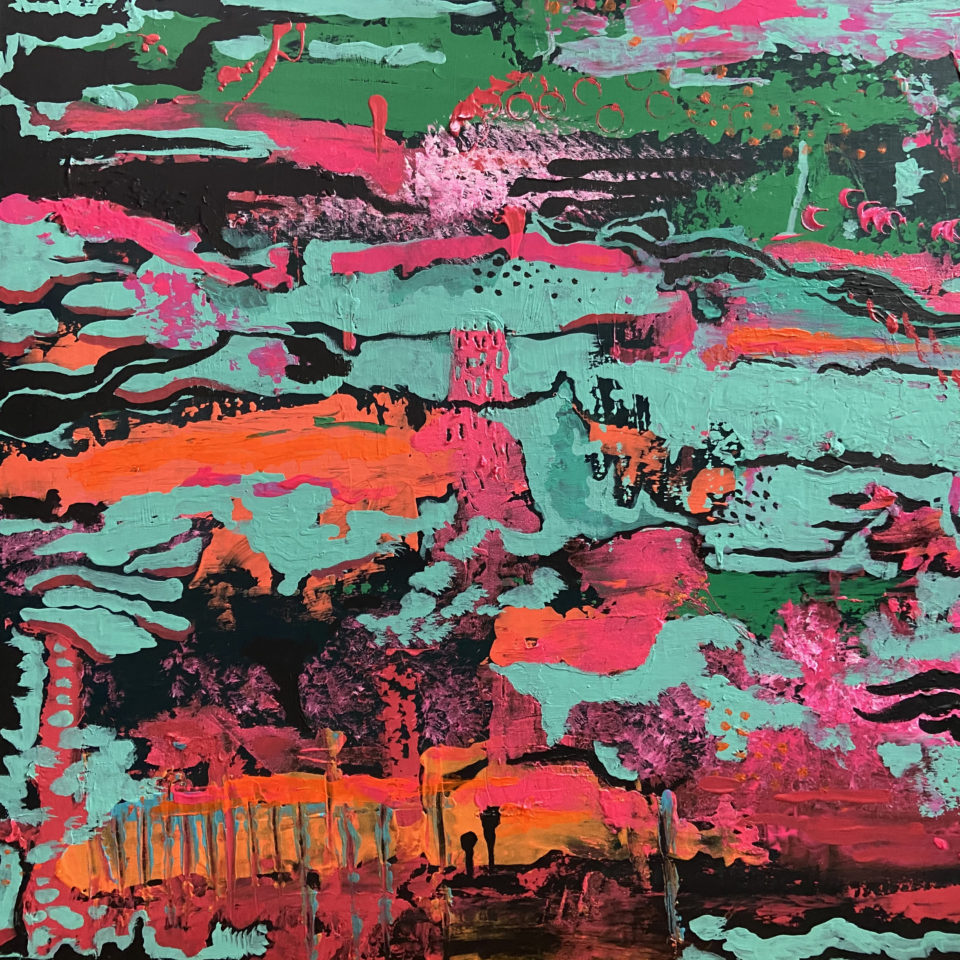 Abstract painting in blue, pink, orange, green and red by Laura Larson