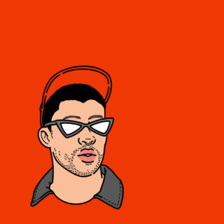 Illustration of Bad Bunny against red background