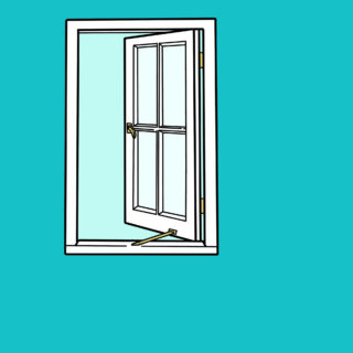 Illustration of a window opening out on blue background