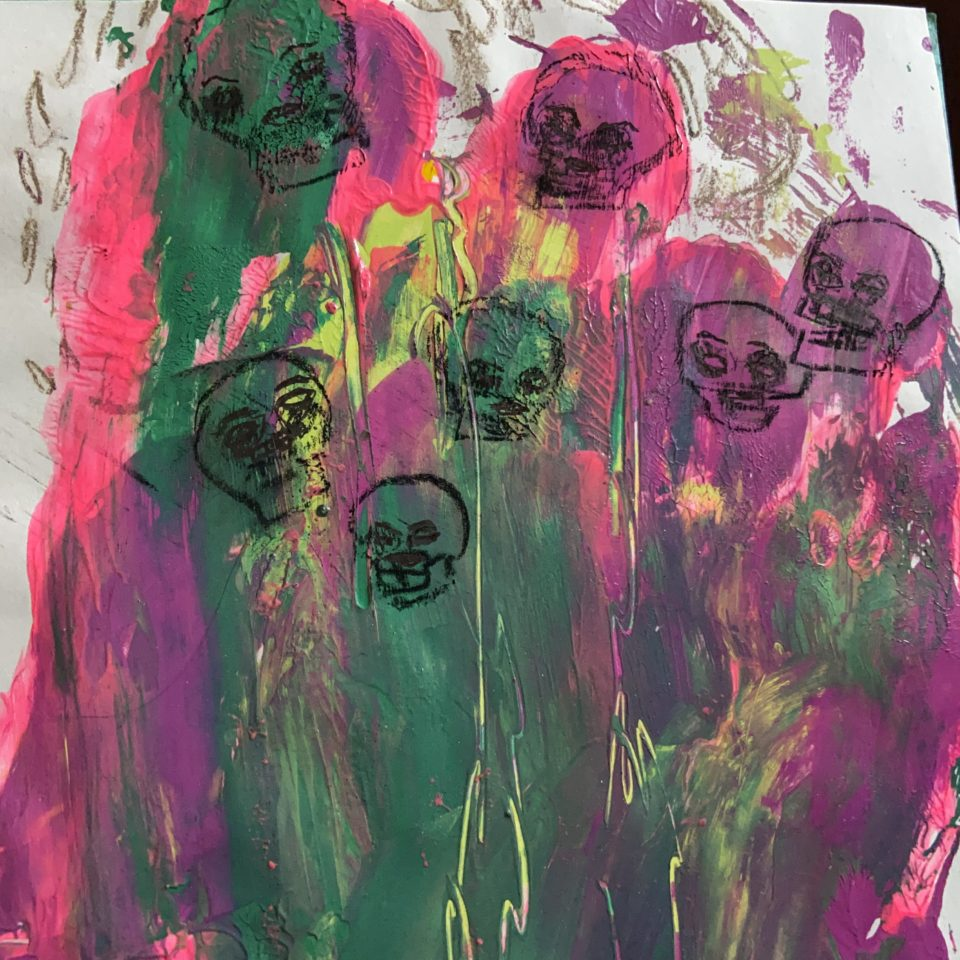 Abstract painting unpick, green, yellow and purple with black outlines of skulls overlaid, by Laura Larson