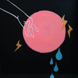 Painting of a pink circle, outline of a hand in blue, lightning bolts, and tears by Laura Larson