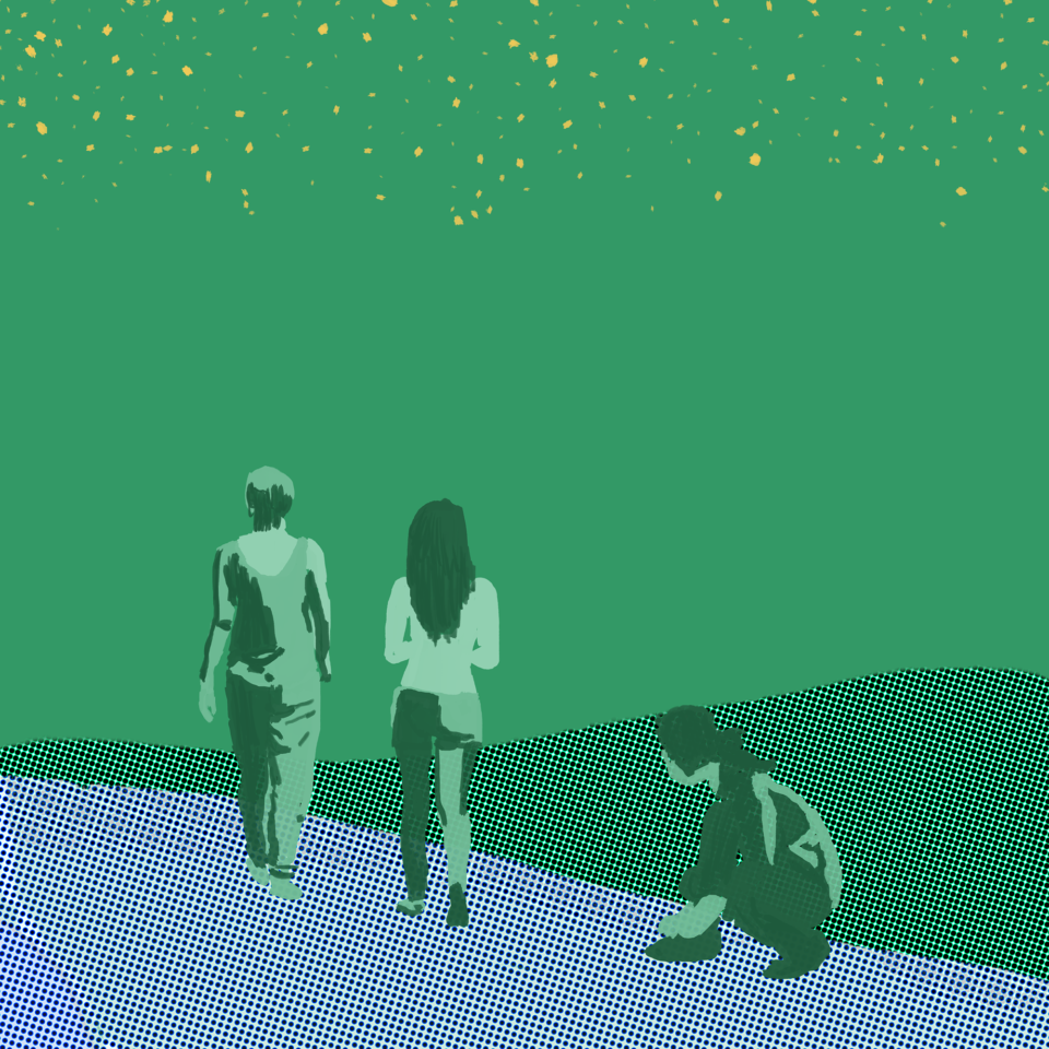 Drawings of two people standing facing away and one kneeling, on blue ground with green sky