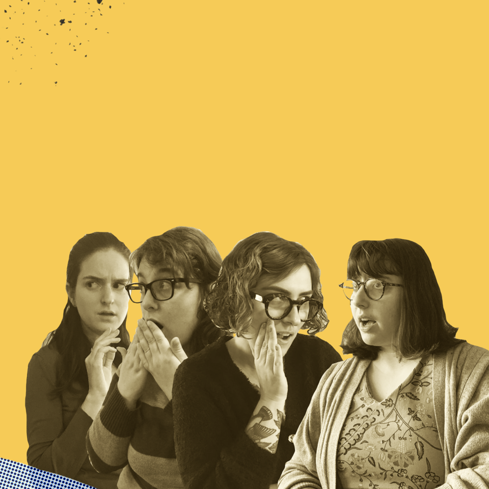 Collage of four black and white photos of people looking shocked, set on a yellow background
