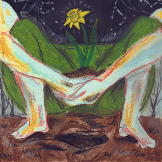 Illustration of two hands holding each other in front of spread legs and feet, which turn into grass and a blooming yellow flower in front of a star-filled night sky.
