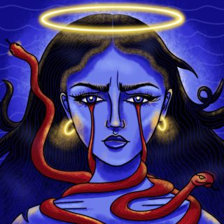 Blue person with long hair, glowing halo and earrings, red snakes around their neck and dripping from their eyes