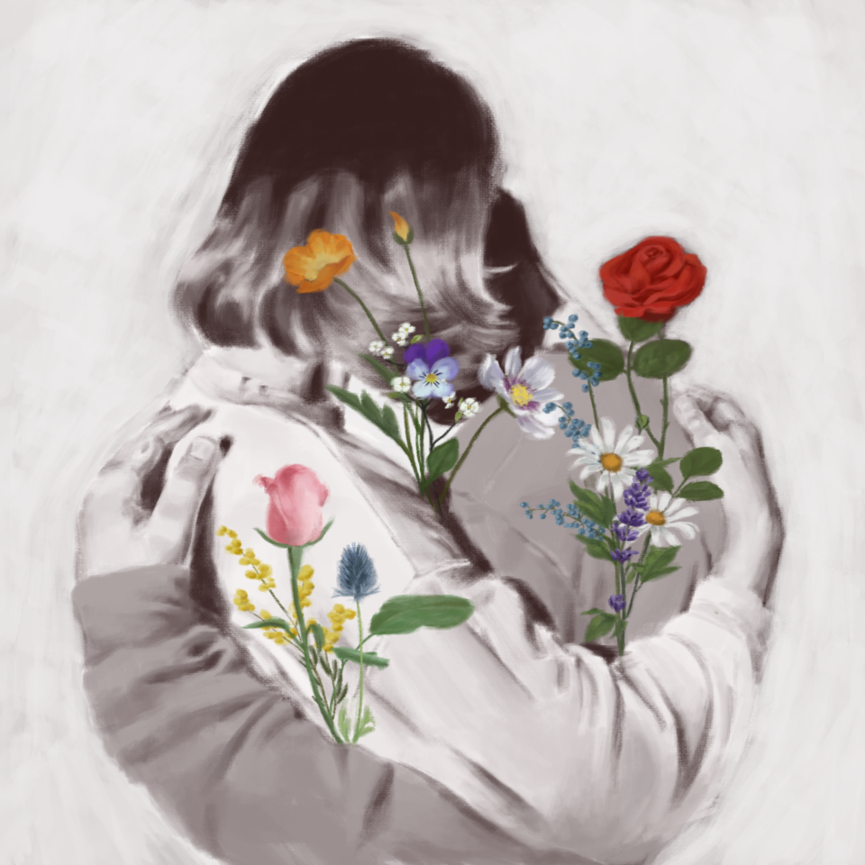 Black and white illustration of two people hugging, colorful flowers grow in front