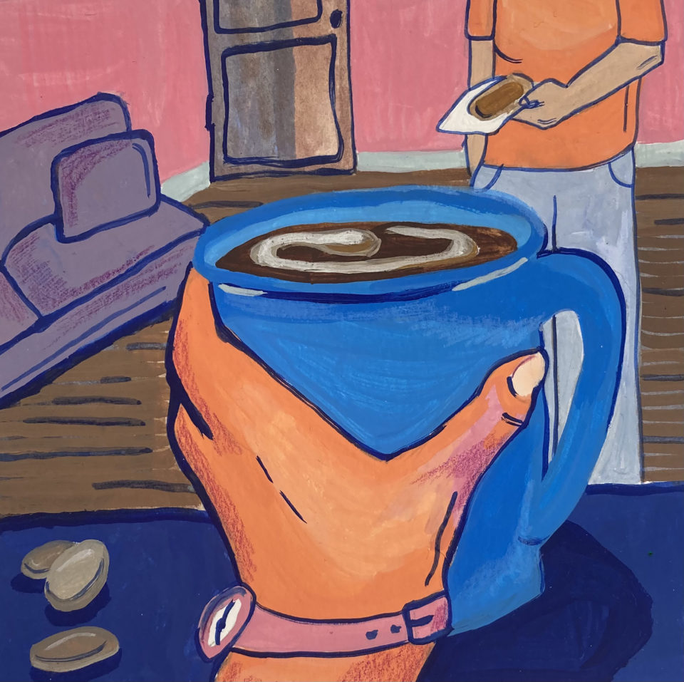 Illustrated close up of a hand holding a blue mug in a living room, person standing in background holding slice of toast with peanut butter