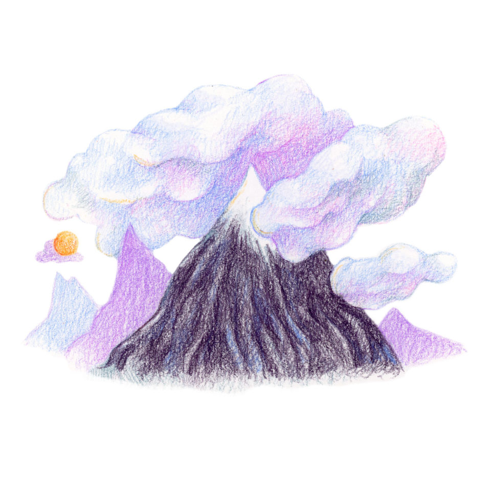 Illustration of purple mountains and purple clouds
