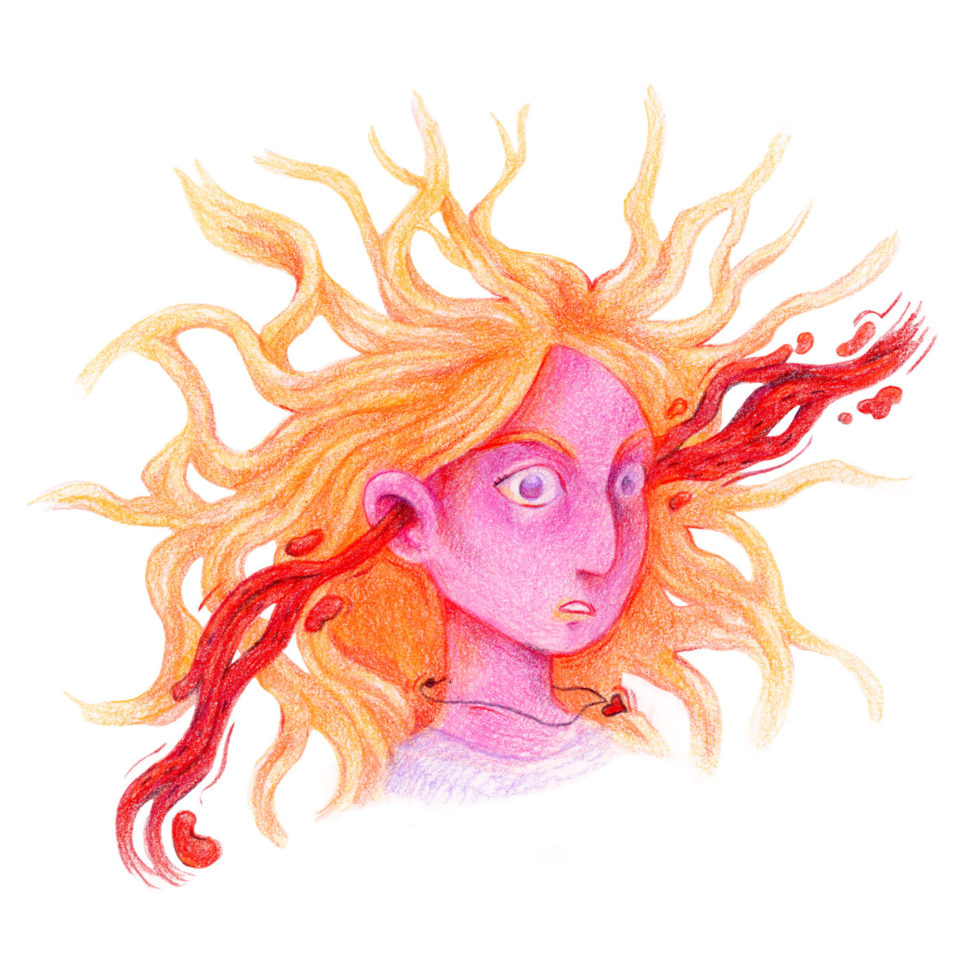 Pink person with orange hair and red blood shooting from their ears