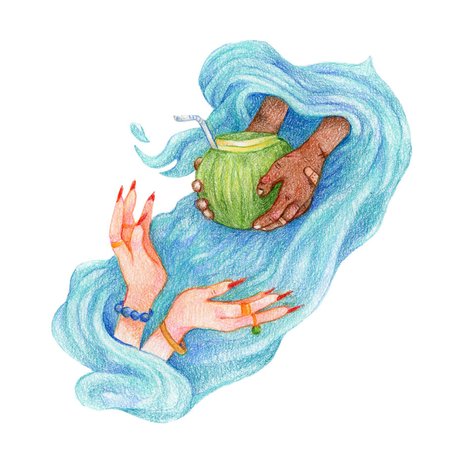 Illustration: white, manicured, bejeweled hands reach across water to take coconut with a straw from brown hands with bandaids