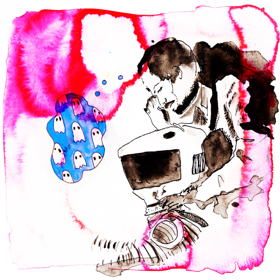 Illustration of a person crouched over a machine on pink background. Blue thought bubble filled with ghosts.