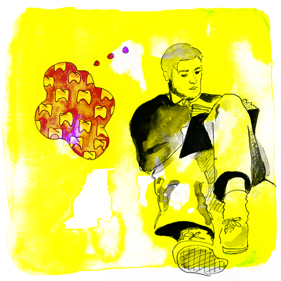 Illustration of person sitting on yellow background. Red thought bubble filled with teeth.